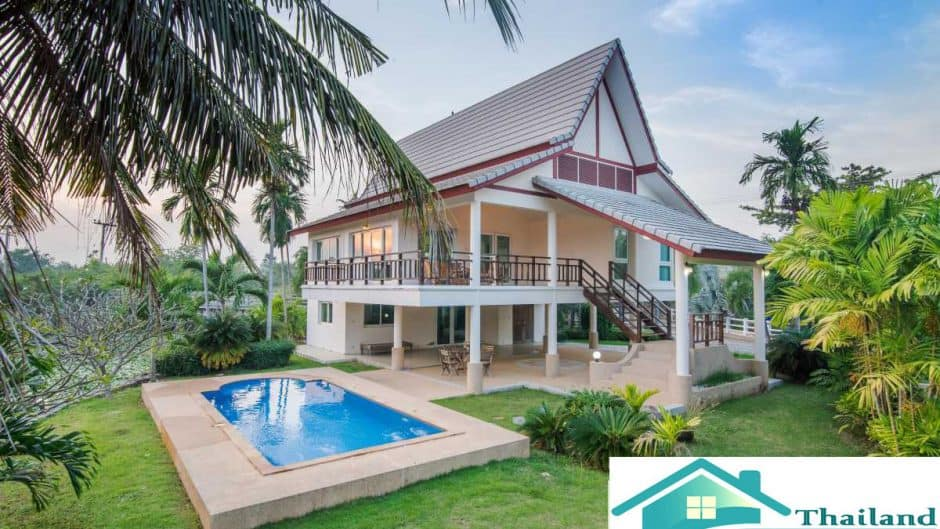 Pool Villa For Sale Near Cha-Am Beach With 4 Bedroom Overlooking Lake