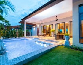 Modern Design Tropical Pool Villa For Sale Hua Hin Panorama Black Mountain